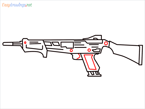 How to draw MAG-7 Gun step (8)
