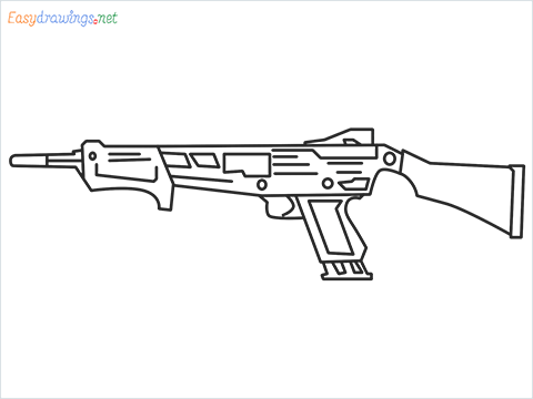 How to draw MAG-7 Gun step by step for beginners