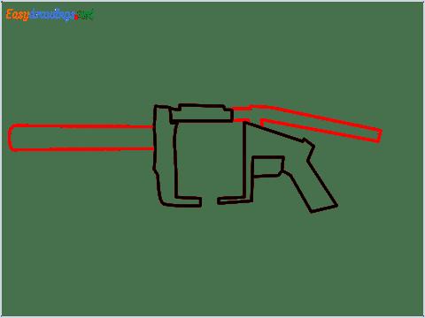 How to draw MGL140 Gun step (4)