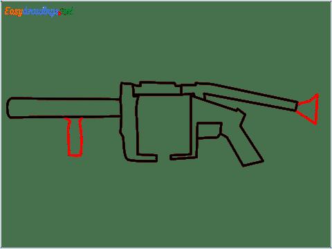 How to draw MGL140 Gun step (5)