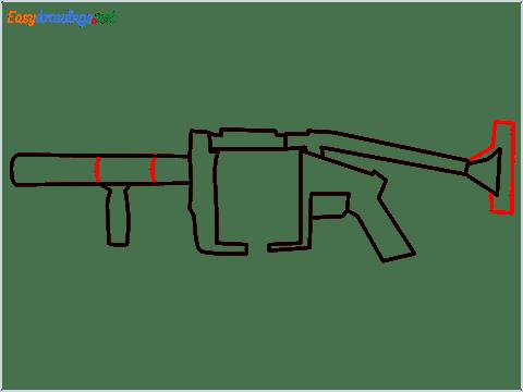 How to draw MGL140 Gun step (6)