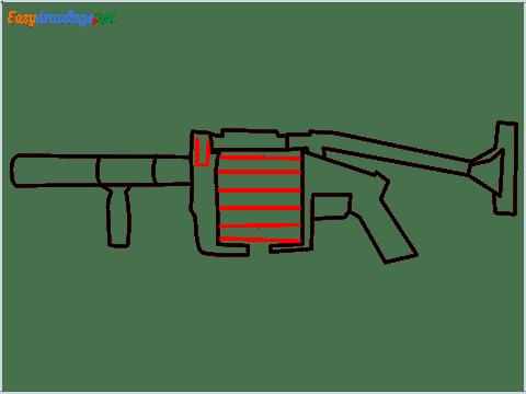 How to draw MGL140 Gun step (7)