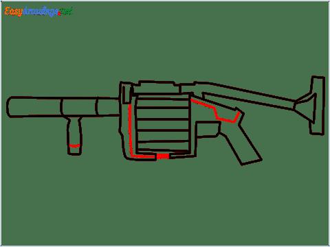 How to draw MGL140 Gun step (8)