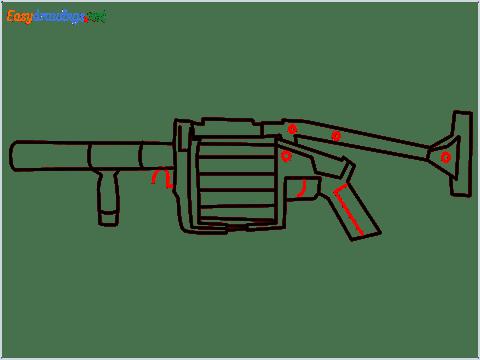 How to draw MGL140 Gun step (9)