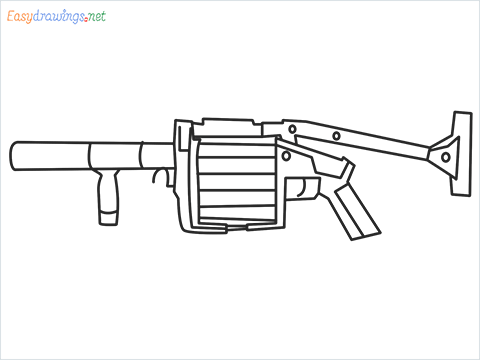 How to draw MGL140 Gun step by step for beginners