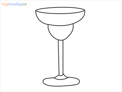 How to draw Margarita glass step by step for beginners