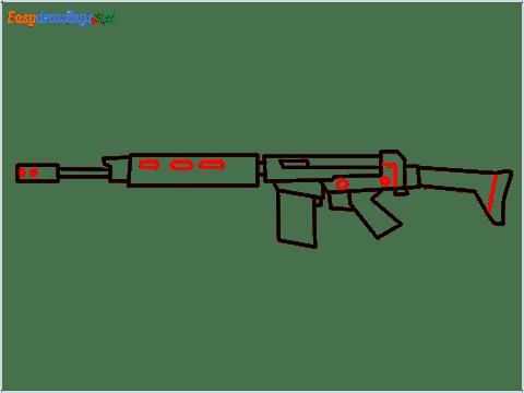 How to draw PARAFAL Gun step (8)