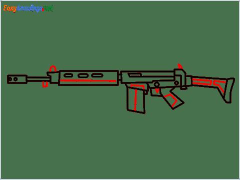 How to draw PARAFAL Gun step (9)
