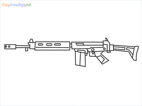 How to draw PARAFAL Gun step by step for beginners