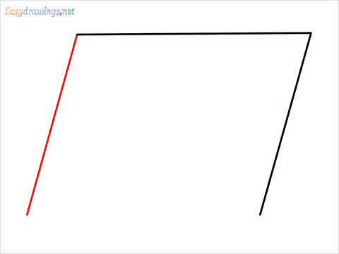 How to draw Parallelogram shape step (3)