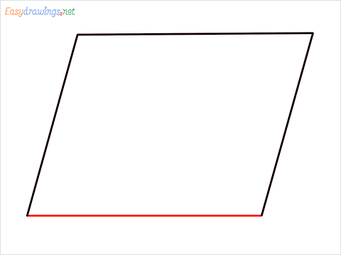 How to draw Parallelogram shape step (4)
