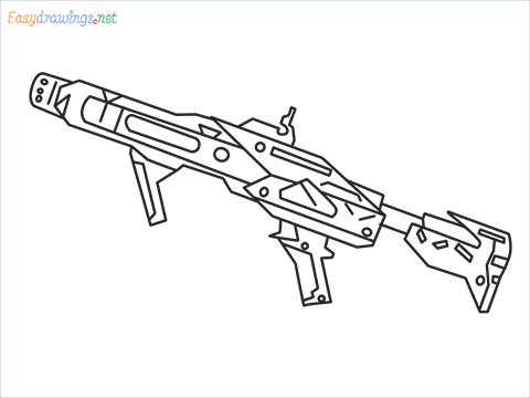 How to draw RGS50 Gun step by step for beginners