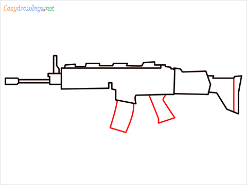 How to draw SCAR-H Gun step (5)