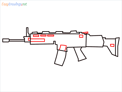 How to draw SCAR-H Gun step (6)