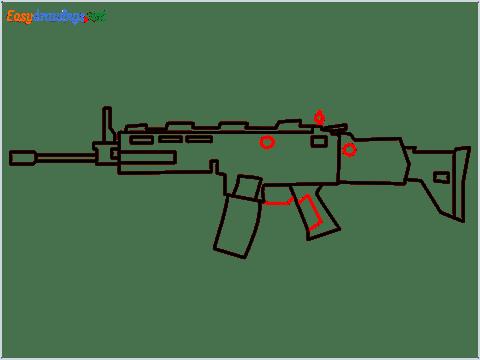 How to draw SCAR-H Gun step (7)