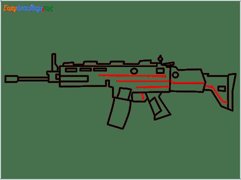 How to draw SCAR-H Gun step (8)