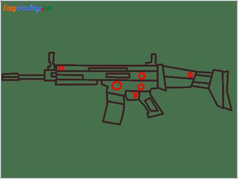 How to draw SCAR l Gun step (10)