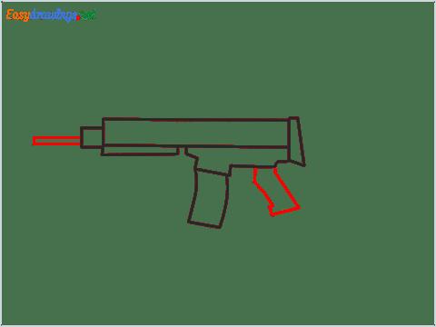 How to draw SCAR l Gun step (4)