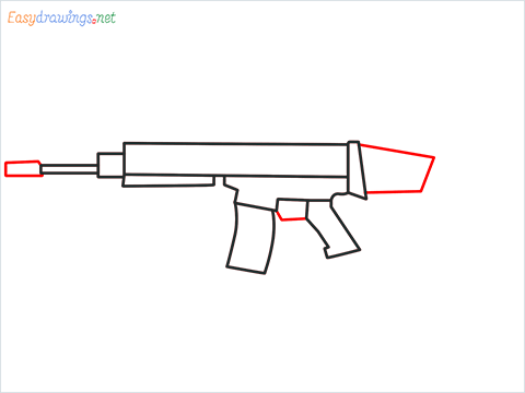 How to draw SCAR l Gun step (5)