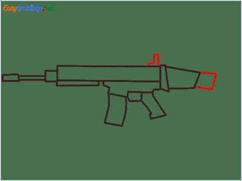 How to draw SCAR l Gun step (6)