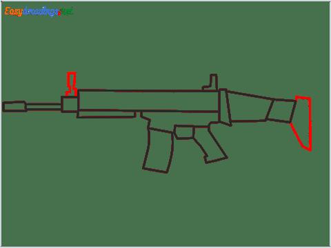 How to draw SCAR l Gun step (7)