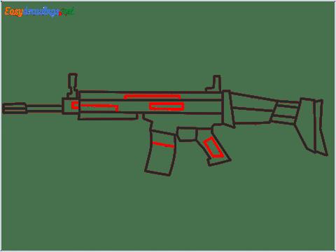 How to draw SCAR l Gun step (9)
