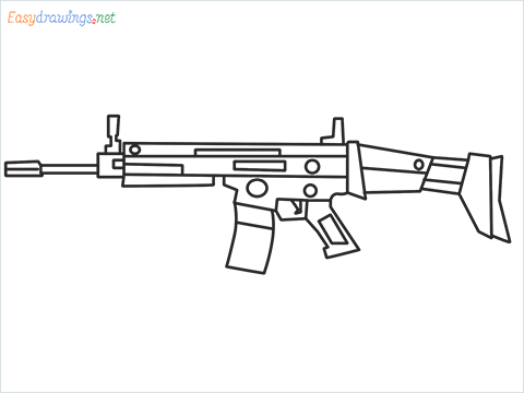 How to draw SCAR l Gun step by step for beginners