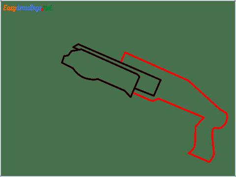 How to draw SPAS12 Gun step (3)