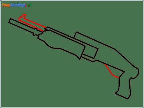 How to draw SPAS12 Gun step (5)