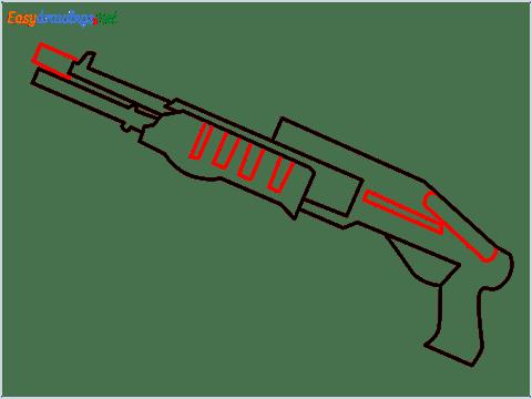 How to draw SPAS12 Gun step (6)
