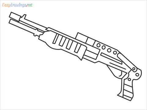 How to draw SPAS12 Gun step by step for beginners