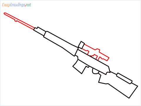How to draw SVD Gun step (5)