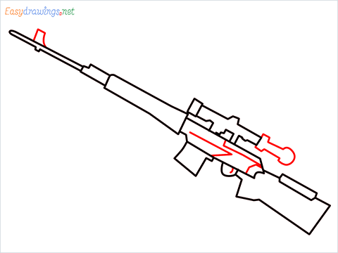 How to draw SVD Gun step (6)