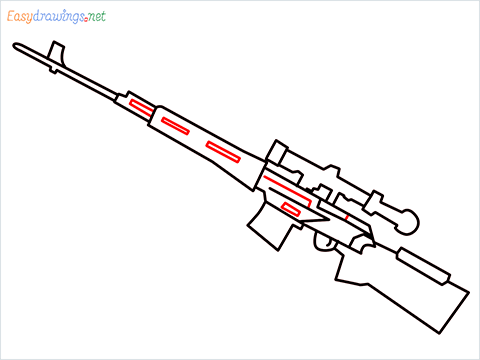 How to draw SVD Gun step (7)