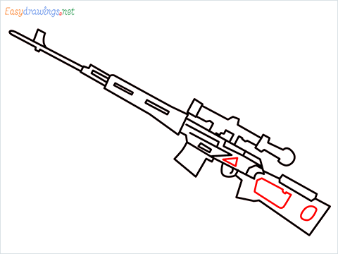 How to draw SVD Gun step (8)