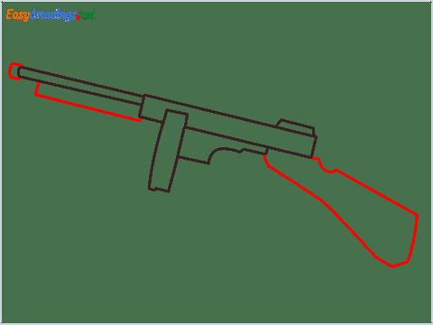 How to draw THOMPSON Gun step (4)