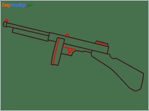 How to draw THOMPSON Gun step (5)
