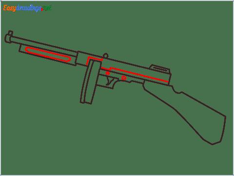 How to draw THOMPSON Gun step (6)