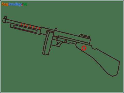 How to draw THOMPSON Gun step (7)