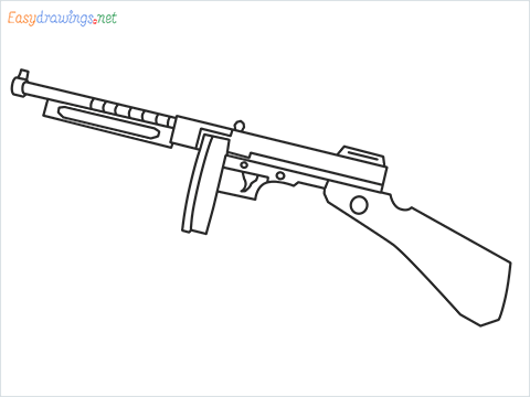 How to draw THOMPSON Gun step by step for beginners