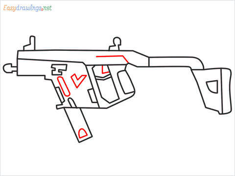 How to draw VECTOR Gun step (8)