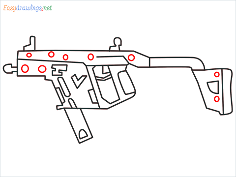 How to draw VECTOR Gun step (9)