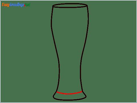 How to draw Weizen glass step (4)