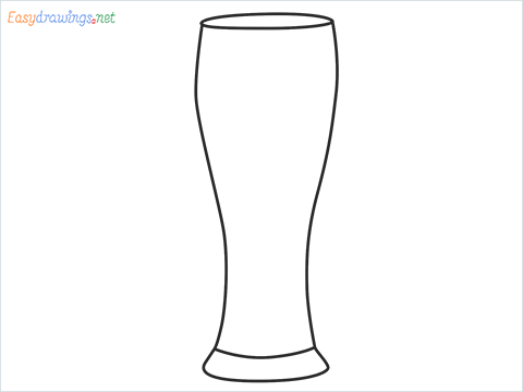 How to draw Weizen glass step by step for beginners