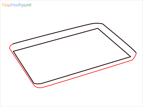 How to draw a Baking tray step (3)