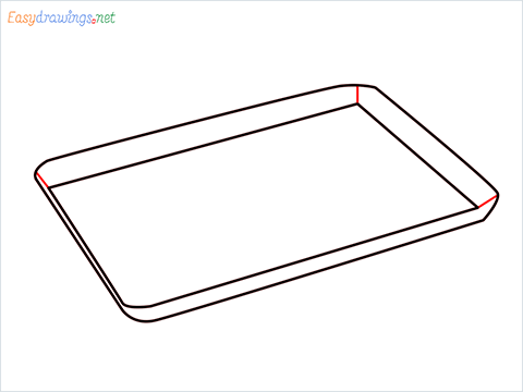 How to draw a Baking tray step (4)