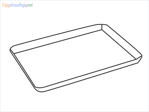 How to draw a Baking tray step by step for beginners