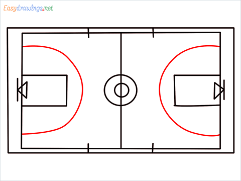 How to draw a Basketball court step (7)
