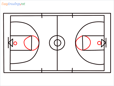 How to draw a Basketball court step (8)