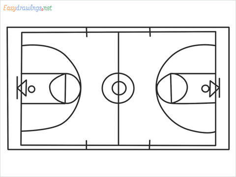 How to draw a Basketball court step by step for beginners